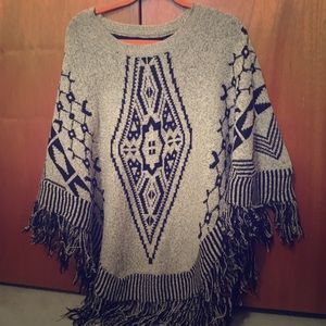 Sweaters - Grey and black patterned poncho